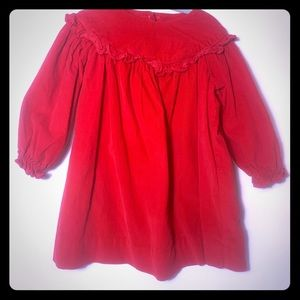 Vintage Red Corduroy Ruffled Dress 18 Months